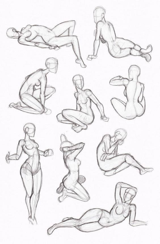 Female poses. Behind, sitting, lounging
