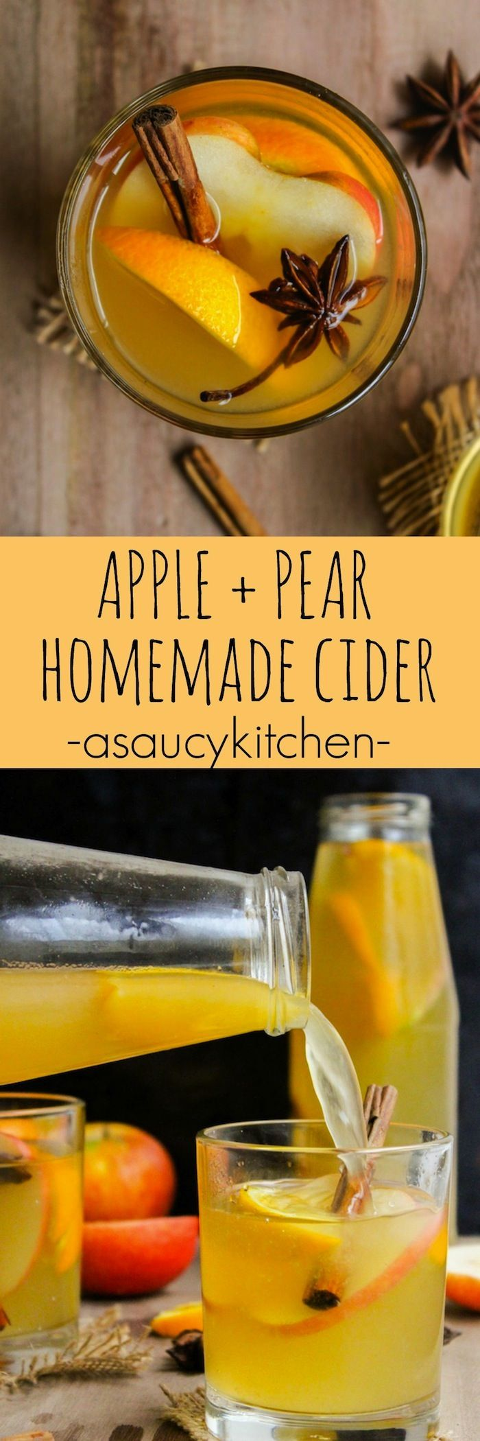 Fall in love with this apple pear cider made with fresh fruit and seasonal spices. Make in the crock pot and enjoy all day with the smell of cider brewing in the air!  @asaucykitchen
