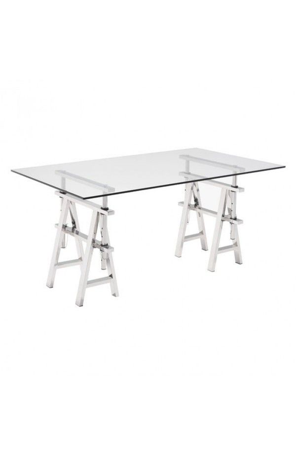 Lado Adjustable Heights Chrome Steel Base Rectangular Glass Top Desk