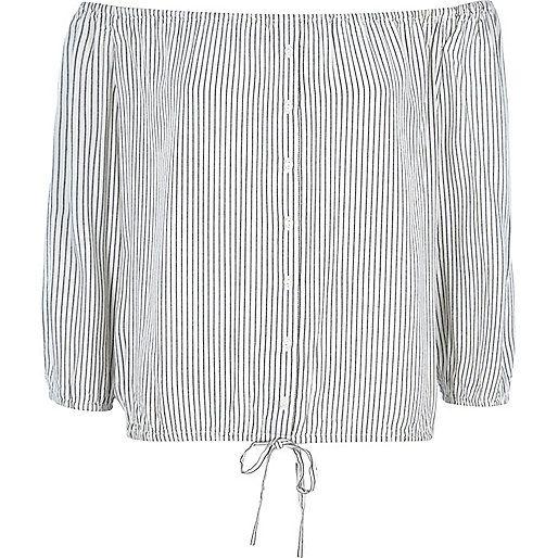 Cream stripe bardot shirt top