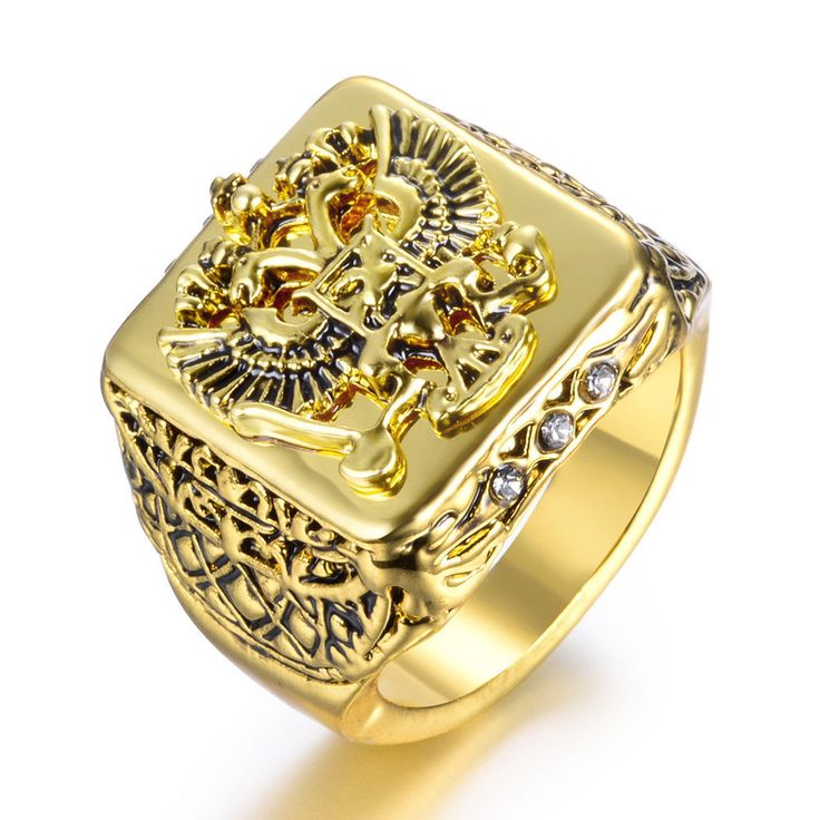 18K Gold Plated Antique Vintage Style Men's Eagle Ring Engraved Square Top M59 #StyleJewelery #Cocktail #Rings