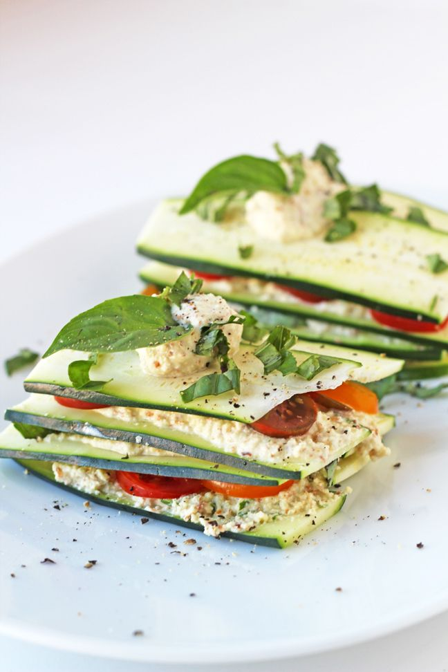 "Raw Zucchini and Tomato Lasagna with Raw Almond ""Cheese"""