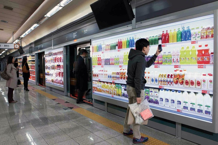 Grocery shopping in the subway on a virtual wall