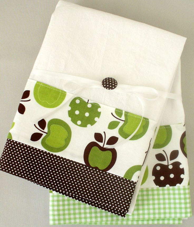 Kitchen towel with apple pattern in green and brown cotton fabric accent - set of two flour sack towels. $26.00, via Etsy.