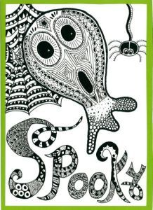Spooky zentangle art card. Zana's Cards measure 7.2″ x 5.2″, or 18cm x 13cm.They also include an envelope for you to use to send your cards. #spookyzentangle #halloweenzentangle #ghostzentangle #spiderzentangle #zentanglecard #zentangleart #zanascards www.zanascards.com