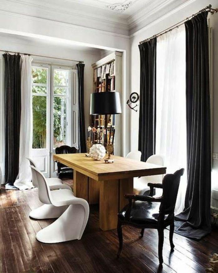 Les 15 meilleures id es de la cat gorie longs rideaux sur pinterest traitements de grandes for Rideaux salon noir et blanc