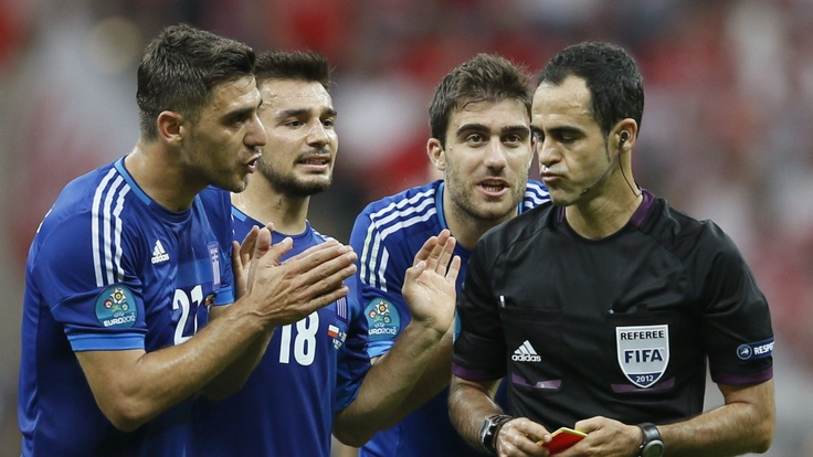 08.06.2012 - UEFA Euro. Poland:Greece, 1:1 - this was red for Papastathopoulos.
