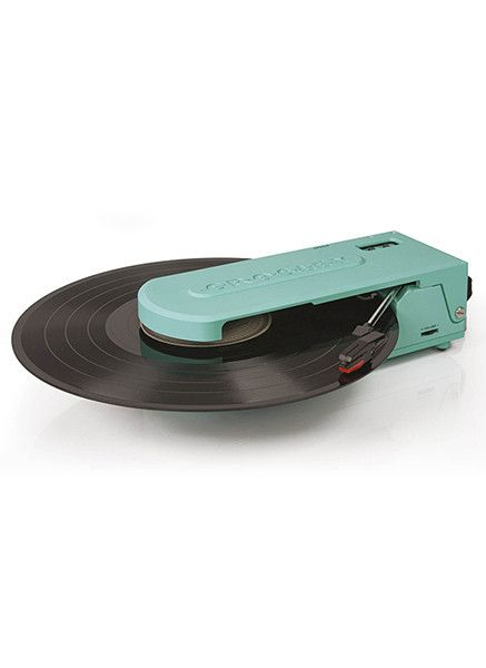 Doesn't get much more portable than this! This battery-powered record player in a lovely turquoise just weighs in at 3 pounds, but comes packed with features, including headphones, and USB capabilitie