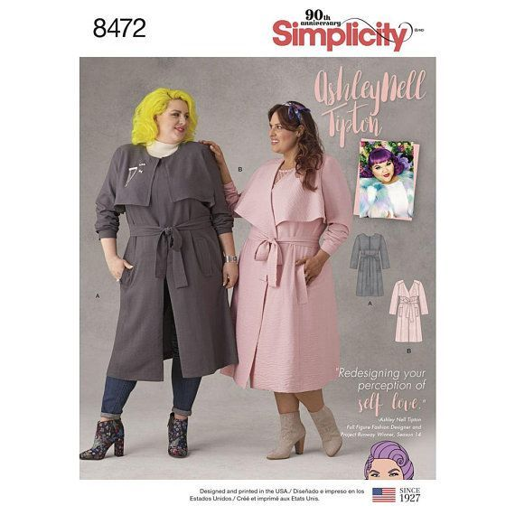 3a26bcbf95a Plus Size Trench Coat Pattern Simplicity Pattern 8472 Ashley Nell Tipton  Womens Coats Womens Plus Size 18W-26W or 26W - 34W New and Uncut   ...