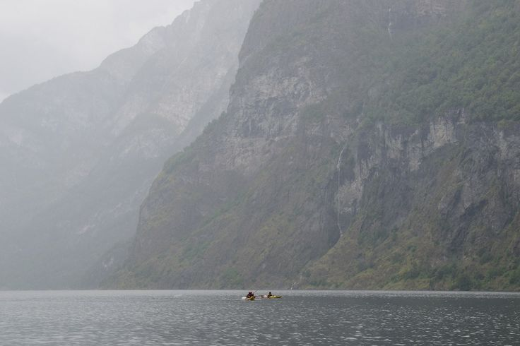 Kajakking in a small boat in a great nature around