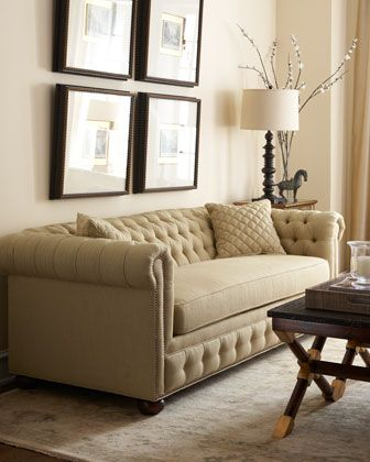 "A tufted sleeper sofa!! ~ ""Ashford"" Sleeper Sofa by Old Hickory Tannery at Horchow"