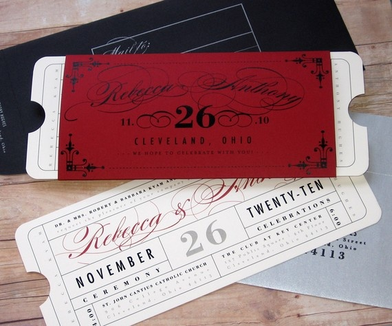 Formal Vintage Ticket Wrap Enclosure Invitation Suite For Hollywood Movie Amp Theater Premiere