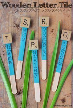 Wooden Letter Tile Garden Markers