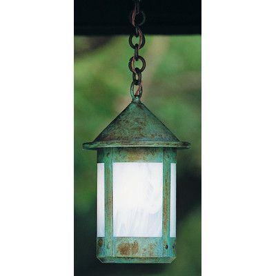 "Arroyo Craftsman Berkeley 1 Light Mini Pendant Size: 14.25"" H x 8.38"" W, Shade Color: Gold White Iridescent"