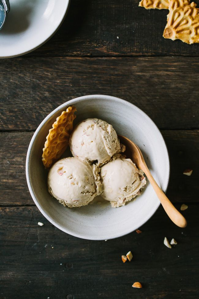 This nutty almond and coconut ice cream is unbelievably creamy and delicious despite having no cream.