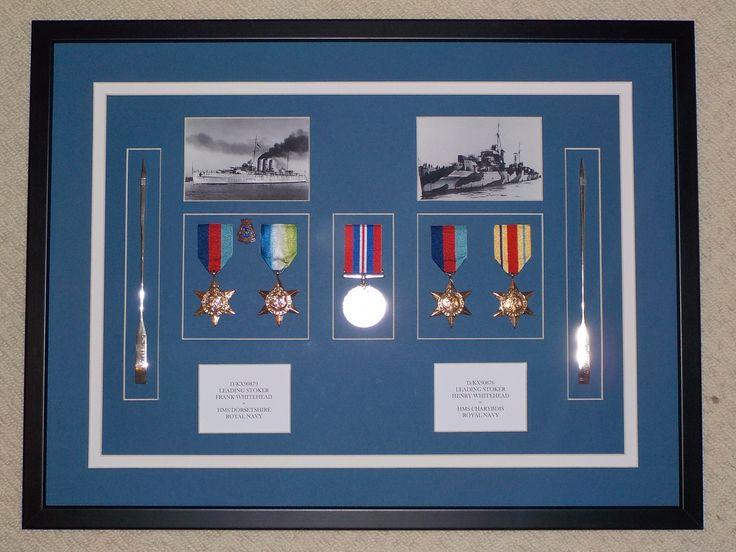 Royal Navy Memorabilia Shadow Box Frame Containing Two