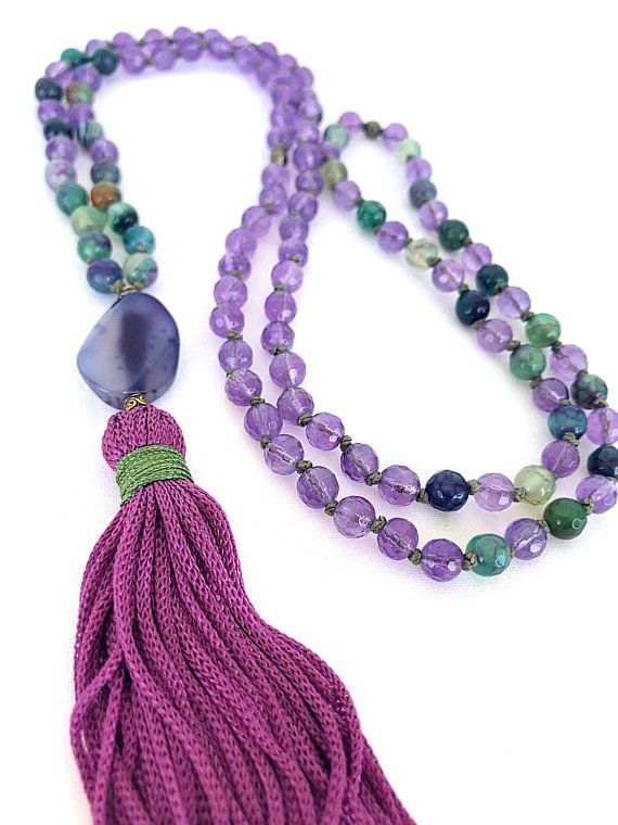 Green Agate Buddah necklace with Amethyst Labradorite and Fluorite