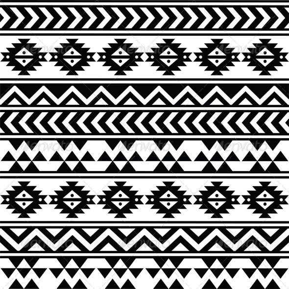 Aztec Tribal Seamless Black and White Pattern  #GraphicRiver