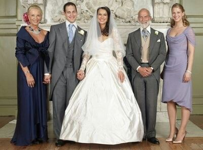 Wedding of Lord Frederick Windsor and Sophie Winkleman. From left: Princess Michael of Kent, Lord Frederick, Sophie, Prince Michael of Kent, Lady Gabriella Windsor.