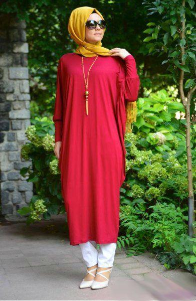 #abaya #abayafashion #butterflyabaya #hijab Jersey Batwing Bubble Fusion Abaya - Red