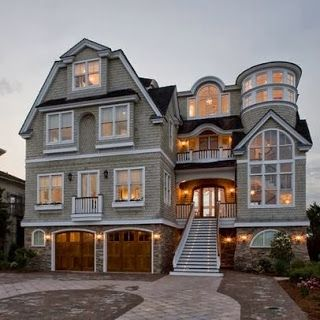 Beach House Exterior Design #house #exterior, family has been saying we need a beach house... we dream and go big. This is amazing love the garage doors. I would never leave