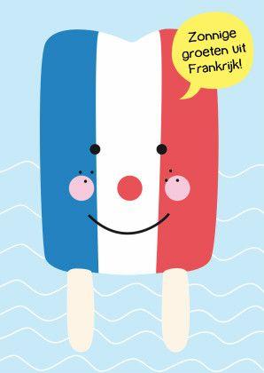Een zonnige vakantiekaart met een vrolijk ijsje in de kleuren van de franse vlag: blauw wit rood.