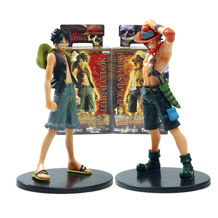 One Piece Monkey D Luffy Portagas D Ace Angka PVC Set 17 cm Jepang Anime Mainan Hadiah