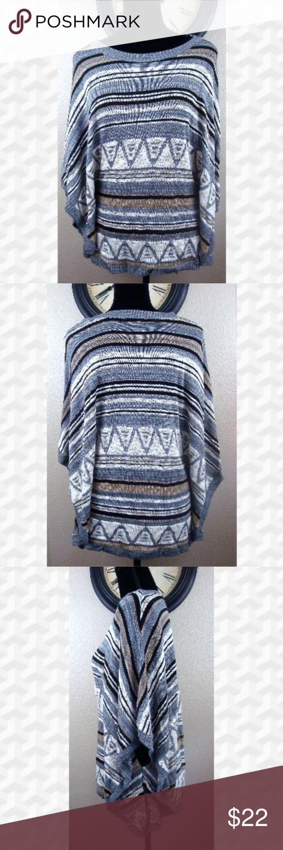 Fresh Dolman Batwing top, multi-color lightweight Fresh, Dolman Batwing top, multi-color,  lightweight, aztec print, gray background with multi-colored accents. Made in USA. Excellent pre-owned condition  Smoke and pet free home  (D4-EB,PM) Fresh Tops