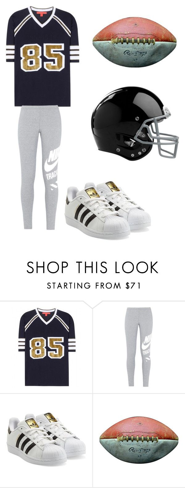 """""""football player"""" by emmarobles ❤ liked on Polyvore featuring Tommy Hilfiger, NIKE, adidas Originals, Rawlings, women's clothing, women, female, woman, misses and juniors"""