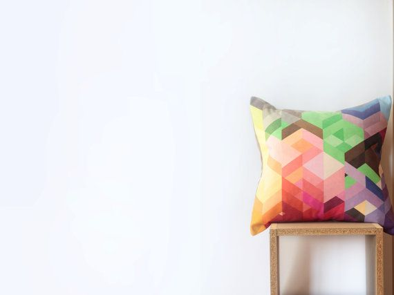 Bright Geometric Pillow Cover with Colorful Chevrons  by Nirwa