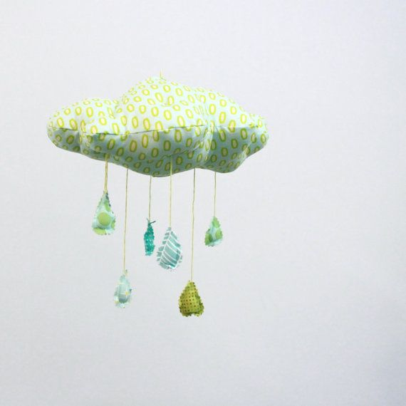 So pretty!Shower Bring, Mobiles Raindrop, Kids Stuff, April Shower, Clouds Mobiles, May Flower, Fabrics Mobiles, Sewing Ideas, Bring Mayflower