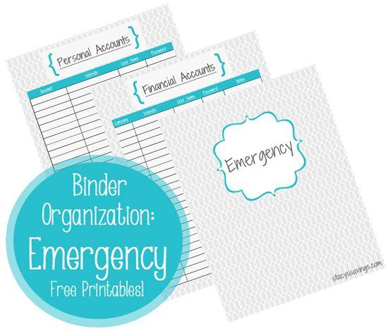 Emergency Binder Printables   #emergency #documents #binder