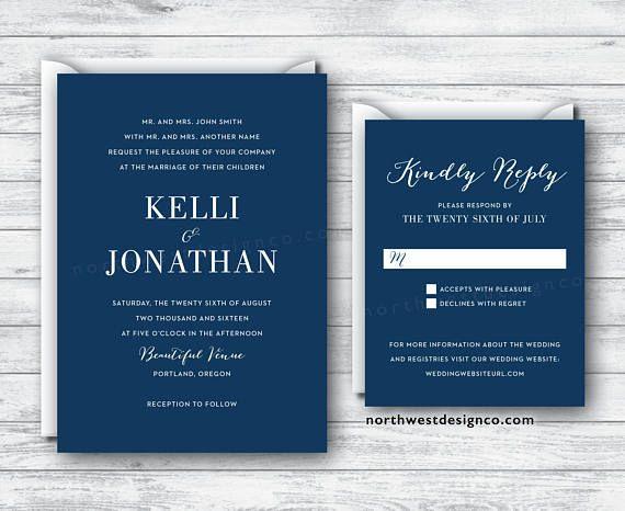 Modern Navy Blue Wedding Invitation and Reply Card  2 Dark