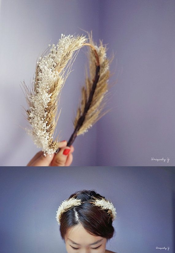 Goddess crown Grecian headpiece Wheat and Baby's by UNIQUELYy