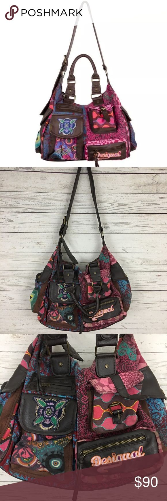 """Desigual rainbow crossbody satchel large purse Great condition. About 14"""" x 12"""" x 7"""".   Spacious colorful bag by Desigual. The large shoulder bag London Martina has two short handles and an adjustable shoulder strap. Ten extra pockets have been put on the outside in different shapes, sometimes with a zipper, sometimes with net or just with a button. Super practical for all your treasures in everyday life! Great gift idea! Desigual Bags"""
