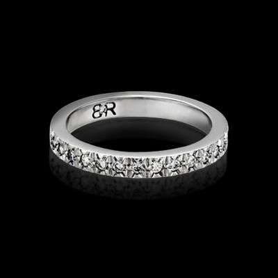 FOR HER - Fulgeo diamond wedding band with 17 full cut diamonds (total approximate diamond weight of 0.26ct). Available in 18K white gold or platinum. Designed to match perfectly with the Fulgeo engagement ring.