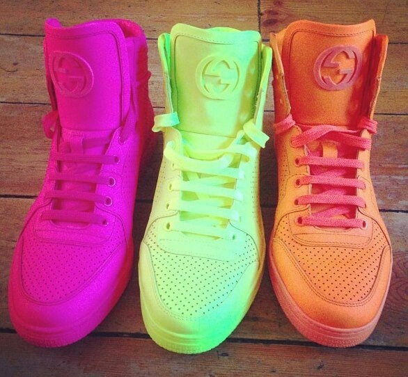 Neon Gucci high tops! Totally cute. Not too casual, not too formal. Juuuust right!