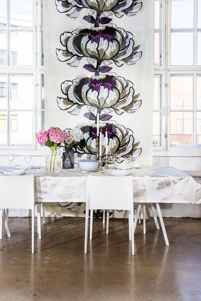 Purple and green floral curtains from Vallila. www.kenisahome.com