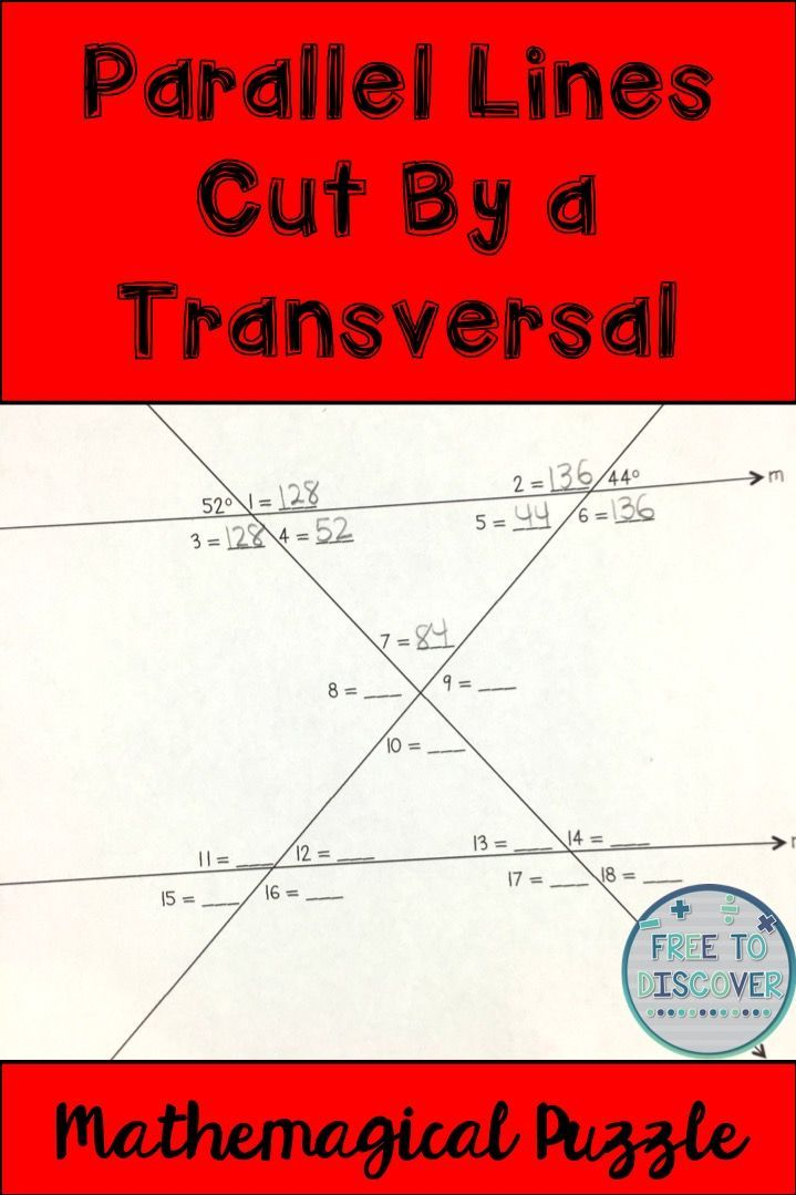 FREE PUZZLE! Students will be able to determine angle relationships and measures when parallel lines are cut by a transversal in this think-pair-share activity. Students should have an understanding of angles vocabulary such as alternate exterior angles, alternate interior angles, corresponding angles, vertical angles, and supplementary angles. Students should also know that the interior angle sum of a triangle is 180 degrees. By Free to Discover.