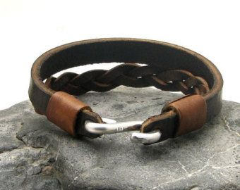 EXPRESS SHIPPING Men's leather bracelet Brown by eliziatelye