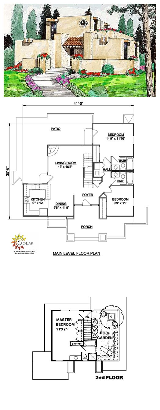 House Plan 94304 | Total living area: 1377 sq ft, 3 bedrooms & 2 bathrooms. A roof garden is the highlight of this Southwestern design. The large living room has a corner fireplace and accesses the rear patio, which has a fire pit for barbecues. #santafe #houseplan