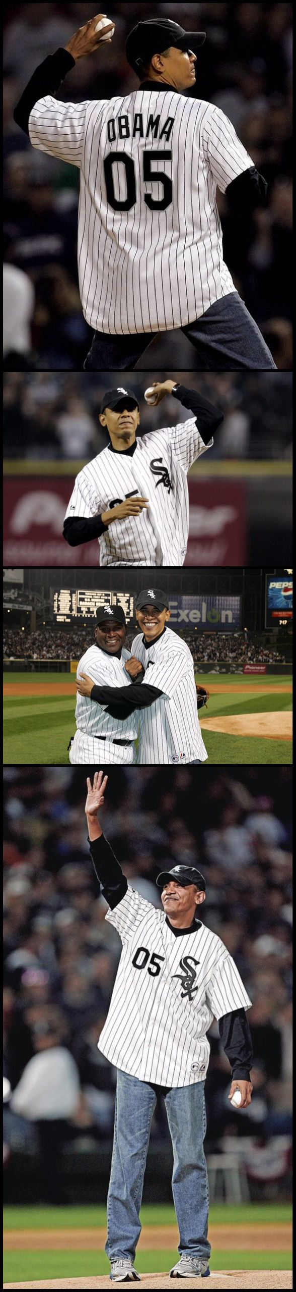44thPresident Barack Obama may not have a future in the big leagues after he leaves the White House, but he held his own on the mound, throwing out his first ceremonial first pitch as President before Major League Baseball's All-Star Game. July 2009. Wearing a Chicago White Sox jacket in honor of his favorite team, he walked to the mound, and with no hesitation or pause, Obama threw a solid pitch