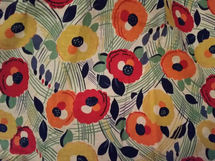 STUNNING & RARE VINTAGE 1930s BLOOMSBURY FABRIC FLORAL