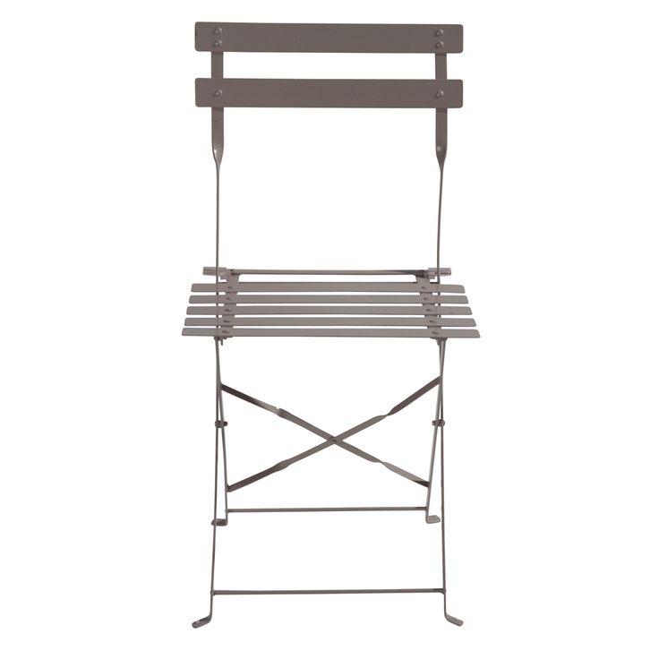2 sedie pieghevoli color talpa da giardino in metallo Confetti