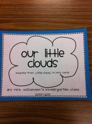 "This idea was inspired by Cara Carroll. We made a class book patterned after ""Little Cloud"" by Eric Carle. They made tear paper shaped clouds and finished the sentence prompt ""My little cloud changed into . . ."""