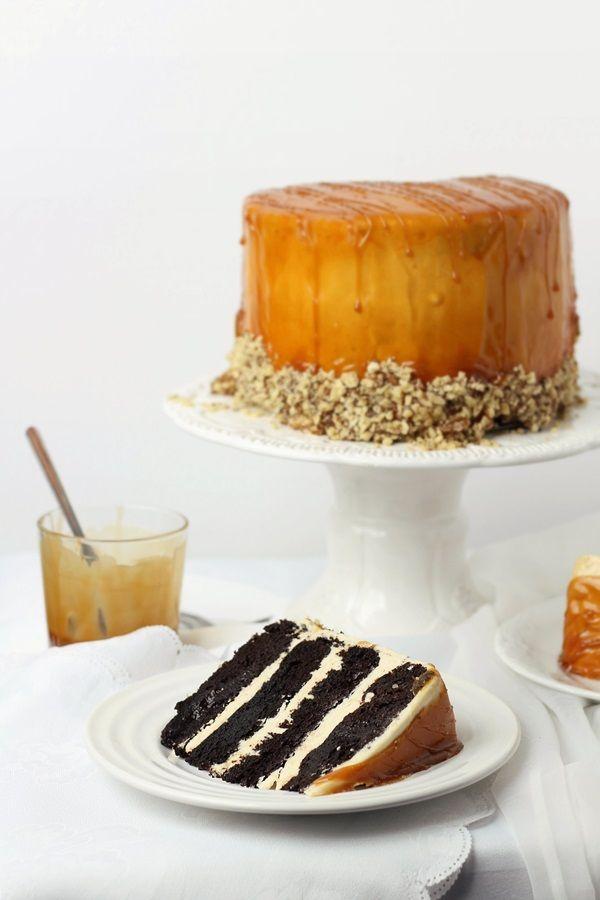 chocOlate & caramel cream layer cake with swiss meringue buttercream
