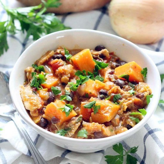 This chicken, sweet potato, and black bean stew is healthy, slightly smoky, and slightly sweet. It's packed with nutrients, easy, and cheap!