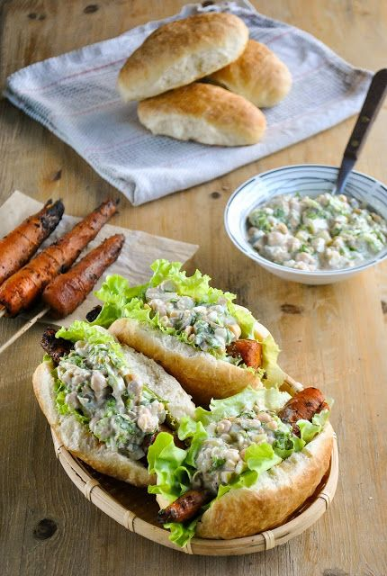 Smoky barbecue carrot dogs with creamy chickpea salad