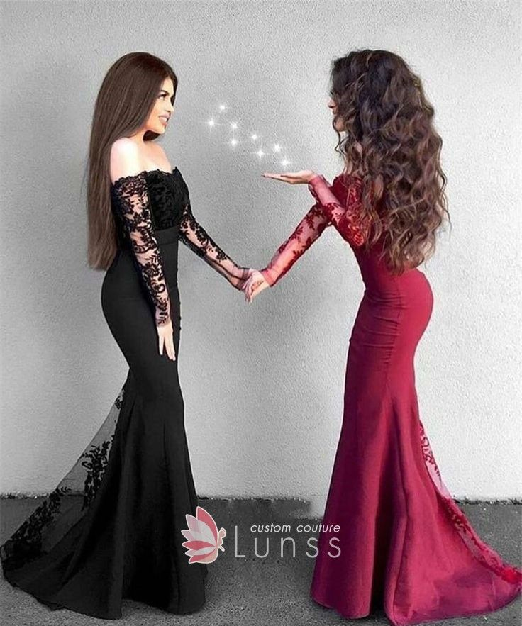 dd8891c7daf Classy Black / Red Illusion Lace Off-the-shoulder Long Sleeve ...