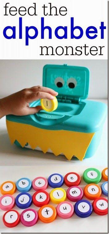 Vous avez une vieille boite à chaussure? Transformez la en Monstre mangeur de lettres pour aider vos enfants à apprendre leur alphabet!